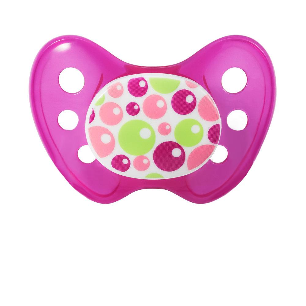 Bubbles pink Latex Schnuller ohne Ring Größe 3